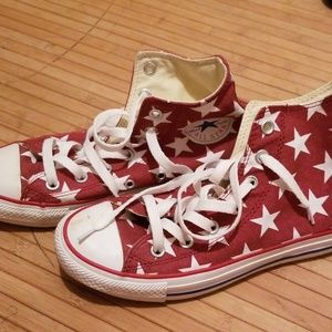 Red and white converse high tops